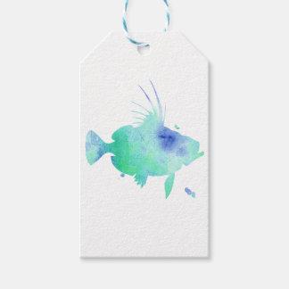 Etiqueta Para Presente envolvimento do aqua dos peixes do oceano