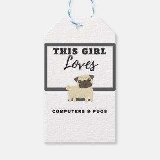 Etiqueta Para Presente Esta menina ama computadores & Pugs