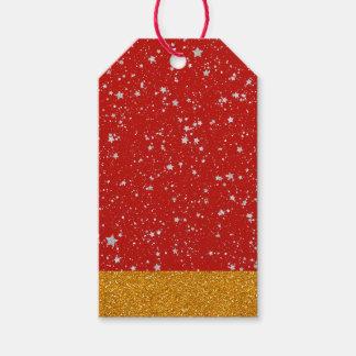 Etiqueta Para Presente Estrelas do brilho - vermelho de prata