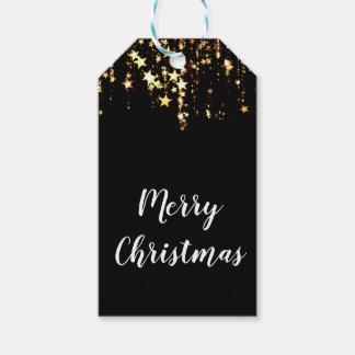 Etiqueta Para Presente estrelas modernas elegantes do ouro do Feliz Natal