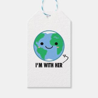 Etiqueta Para Presente Eu sou com ela - Dia da Terra do planeta