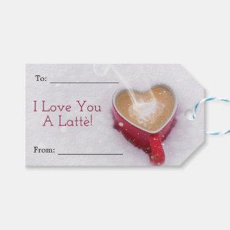 Etiqueta Para Presente Eu te amo um dia dos namorados do coração de Latte