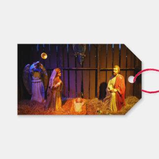 Etiqueta Para Presente Exposição do feriado do Natal da cena da