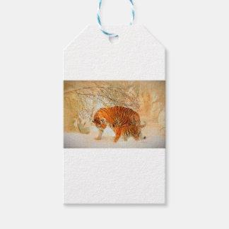 Etiqueta Para Presente Família em um blizzard - PaintingZ do tigre