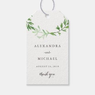 Etiqueta Para Presente Favor botânico verde do casamento da grinalda das