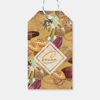 Etiqueta Para Presente Feijões de cacau, flores do chocolate, os