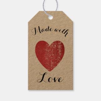 Etiqueta Para Presente Feito com vermelho carmesim do selo do coração do