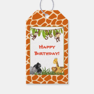 Etiqueta Para Presente Feliz aniversario do tema da selva do safari do
