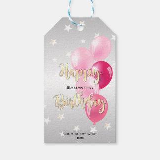 Etiqueta Para Presente Feliz aniversario estrelado à moda e balões