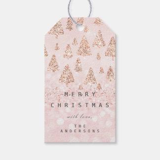Etiqueta Para Presente Feliz ao brilho branco ChristmasTree do rosa do