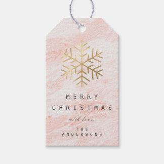Etiqueta Para Presente Feliz aos flocos de neve do ouro branco do rosa do