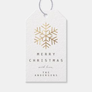 Etiqueta Para Presente Feliz aos flocos de neve do ouro branco do Tag do
