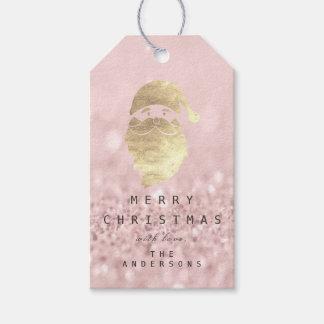 Etiqueta Para Presente Feliz do feriado ao rosa dourado do brilho do