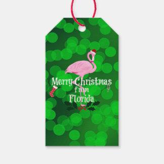 Etiqueta Para Presente Feliz Natal de Florida, flamingo do papai noel