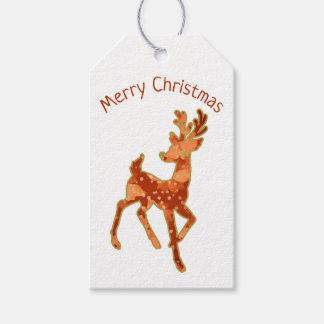 Etiqueta Para Presente Feliz Natal do Poinsettia/da rena/Tag do presente