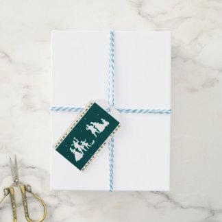 Etiqueta Para Presente Feliz Natal do vintage com fundo azul