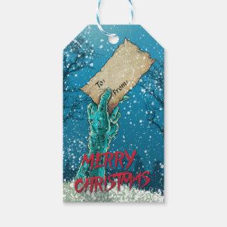 Etiqueta Para Presente Feriado do Feliz Natal do zombi
