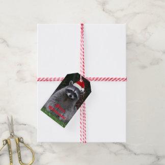 Etiqueta Para Presente Feriado do guaxinim do Natal