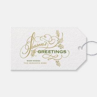 Etiqueta Para Presente Feriado elegante do Flourish dos cumprimentos da