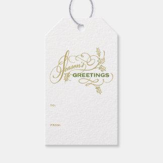 Etiqueta Para Presente Feriado elegante II do Flourish dos cumprimentos