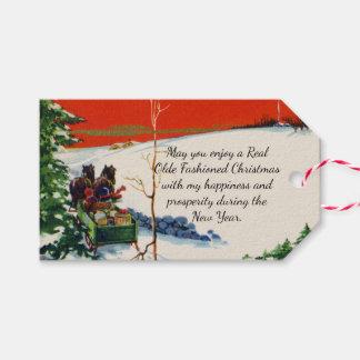 Etiqueta Para Presente Feriado nevado do Natal vermelho do Victorian do