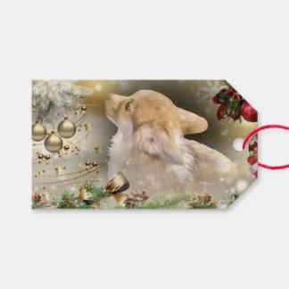 Etiqueta Para Presente Filhote de cachorro do Corgi de Galês do feriado