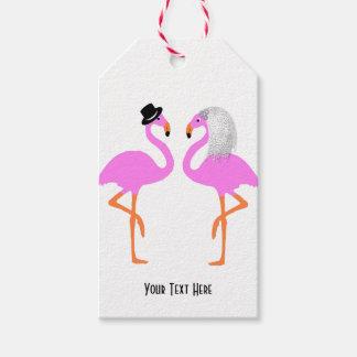 Etiqueta Para Presente Flamingos cor-de-rosa bonitos noiva & casamento do