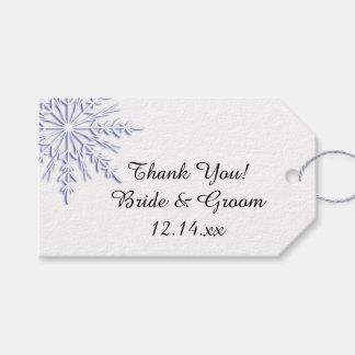 Etiqueta Para Presente Floco de neve azul nos Tag brancos do favor do