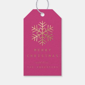 Etiqueta Para Presente Flocos de neve dourados cor-de-rosa fúcsia do Tag