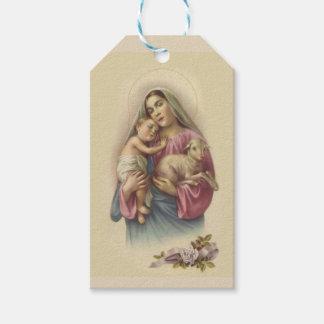 Etiqueta Para Presente Flores abençoadas de Jesus do bebê da Virgem Maria