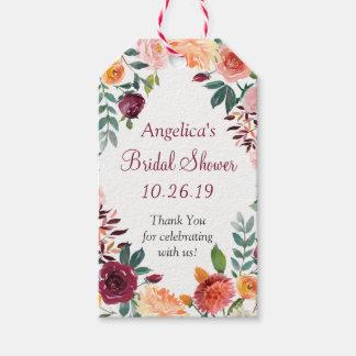 Etiqueta Para Presente Flores alaranjadas cor-de-rosa de Marsala que