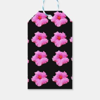 Etiqueta Para Presente Flores cor-de-rosa do hibiscus no preto, _