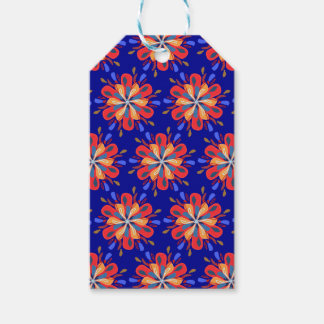 Etiqueta Para Presente Flores de Starburst em vermelho e azul corajosos
