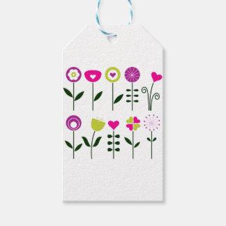 Etiqueta Para Presente Flores populares/preto cor-de-rosa mágico no