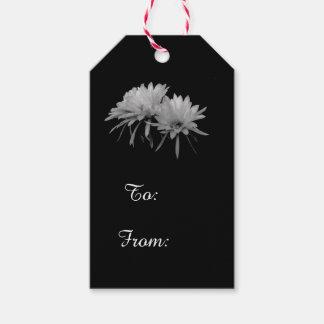 Etiqueta Para Presente Flores preto e branco do cacto