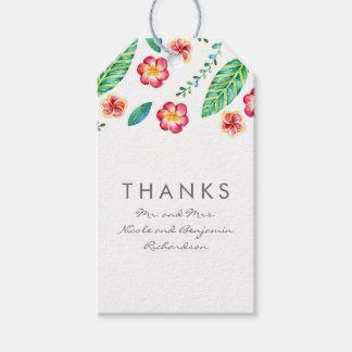 Etiqueta Para Presente Flores tropicais e folhas de palmeira da praia que
