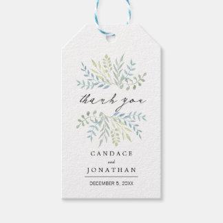 Etiqueta Para Presente Folhas da aguarela nas matiz verdes que Wedding