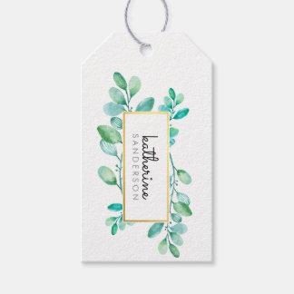 Etiqueta Para Presente Folhas pintadas da NATUREZA aguarela moderna