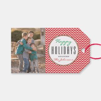 Etiqueta Para Presente Foto personalizada Chevron vermelha & branca do