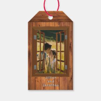 Etiqueta Para Presente Foto rústica da madeira da cereja da janela do