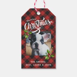 Etiqueta Para Presente Foto vermelha do Natal da xadrez do búfalo