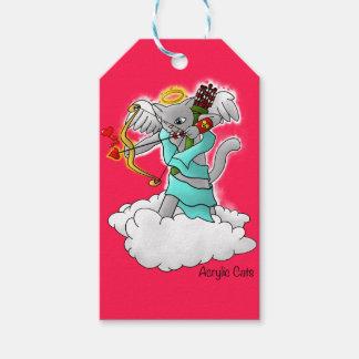 Etiqueta Para Presente Gato cinzento do Cupido de Smokey do dia dos