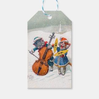 Etiqueta Para Presente Gatos do natal vintage, Arthur Thiele
