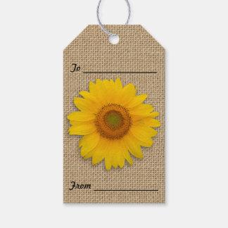 Etiqueta Para Presente Girassóis e Tag rústicos do presente de