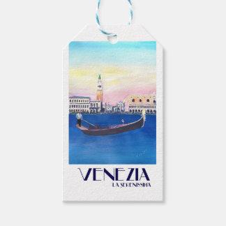 Etiqueta Para Presente Gôndola de Veneza Italia no canal grande com San