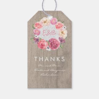 Etiqueta Para Presente Grinalda elegante das aguarelas das flores do rosa