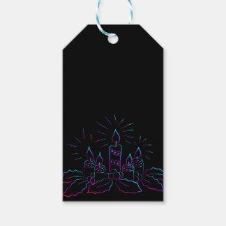 Etiqueta Para Presente Grinalda elegante do Natal e velas do preto do