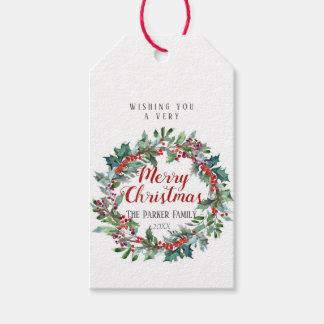 Etiqueta Para Presente Grinalda verde do Tag   do presente do Natal da
