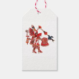 Etiqueta Para Presente Guerreiro asteca do shaman da dança