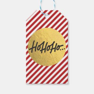 Etiqueta Para Presente HO HO HO listras brancas vermelhas do feriado do